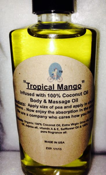 """Tropical Mango"" Coconut Oil Infused Body and Massage Oil 4 oz"