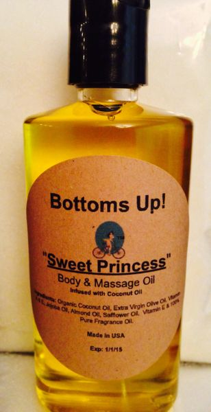 """Sweet Princess"" Coconut Oil Infused Body and Massage Oil 4oz"