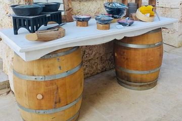 wine barrels and top for buffet for events and weddings