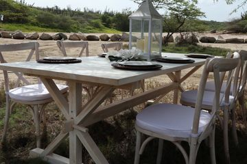 white wash cross tables with matching chairs for events and weddings