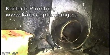 View from inside residential plumbing pipes using a video inspection camera