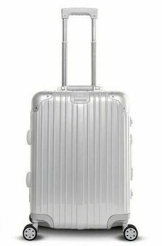 "Gabbiano Aurora 20"" Aluminum Frame Carry On Hardside Spinner Luggage - Silver"