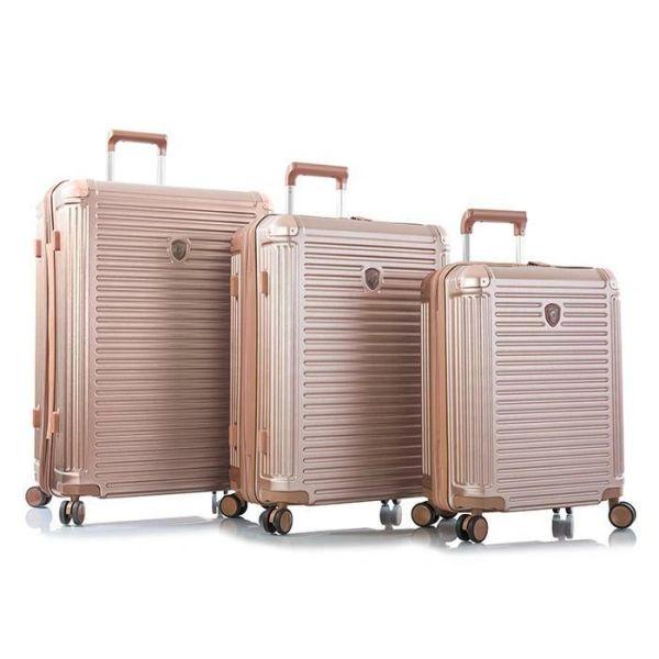 Heys Edge 3 Piece Hardside Spinner Luggage Set - Rose Gold