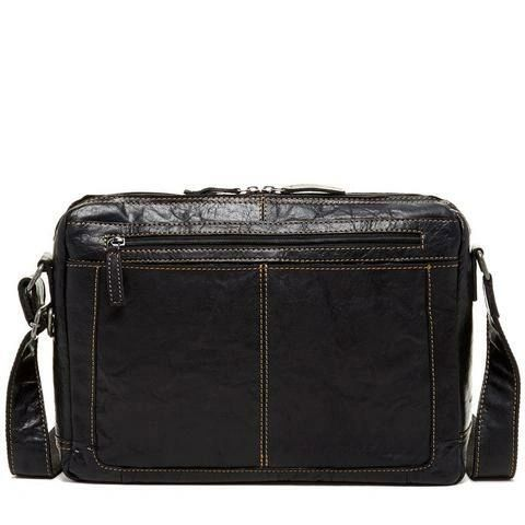 Jack Georges Voyager Zip Top Messenger Bag - Black 7313