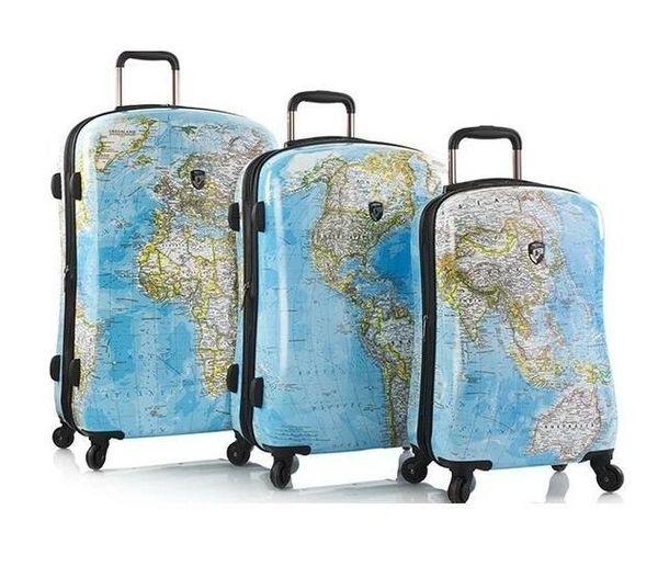 Heys Journey 2G Maps 3 Piece Hardside Spinner Luggage Set