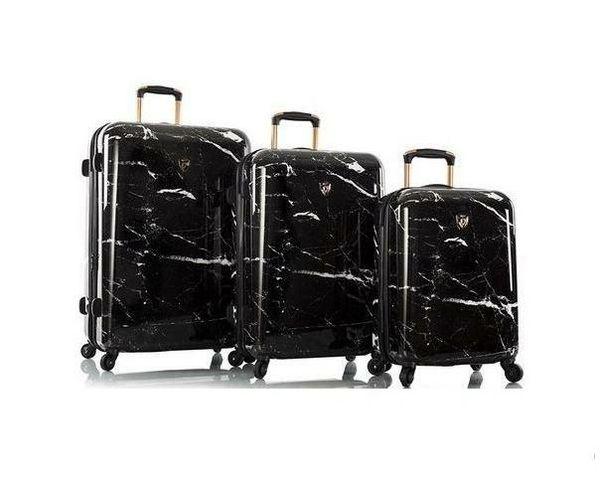 Heys Marquina Black Marble Fashion Spinner 3 Piece Luggage Set