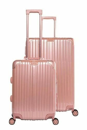 Gabbiano Aurora Aluminum Frame Hardside Spinner 2 Piece Luggage Set - Rose Gold