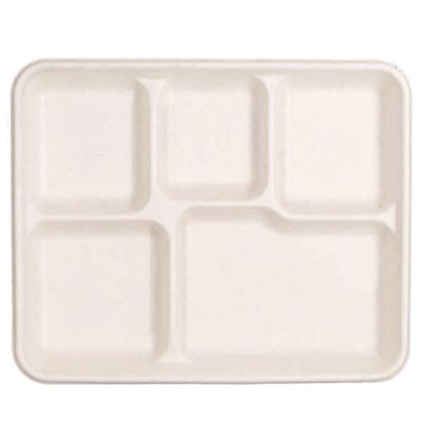 100% Compostable Eco-Friendly 5-Compartment School Lunch Tray 500-Count - Made of Sugar Cane Fiber Bagasse - Food Tray (Packed 4x125 Case)