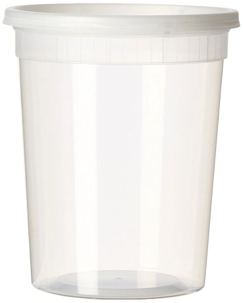 Stack Man Plastic Soup/Food Container with Lids (12), 32 oz.