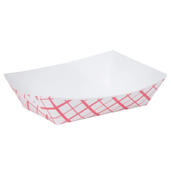 A World Of Deals #100 Paperboard Red Check Food Tray, 1-lb Capacity (Pack of 250)