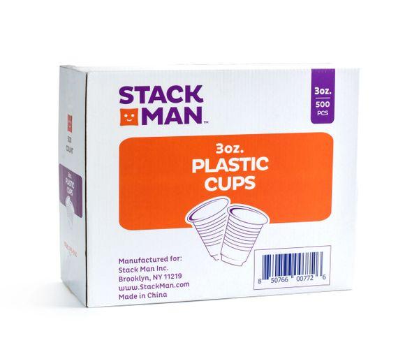 Stack Man 3 oz. Plastic Cups, Bulk - (500/Case)
