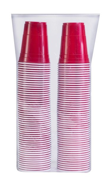 Stack Man Red Cup Cold Plastic Party Cups 16 Ounce 100 Pack