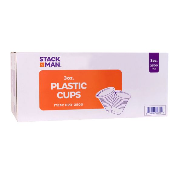Stack Man 3 oz. Plastic Cups, Bulk - (2500/Case)