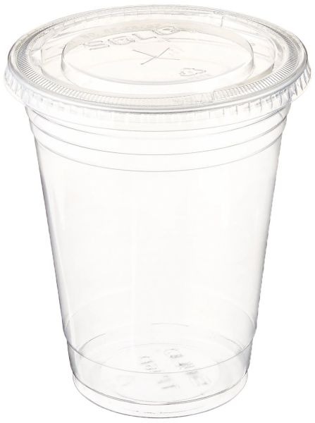 Stack Man 100 Sets 16 oz. Plastic CLEAR Cups with Flat Lids for Iced Coffee Bubble Boba Tea Smoothie