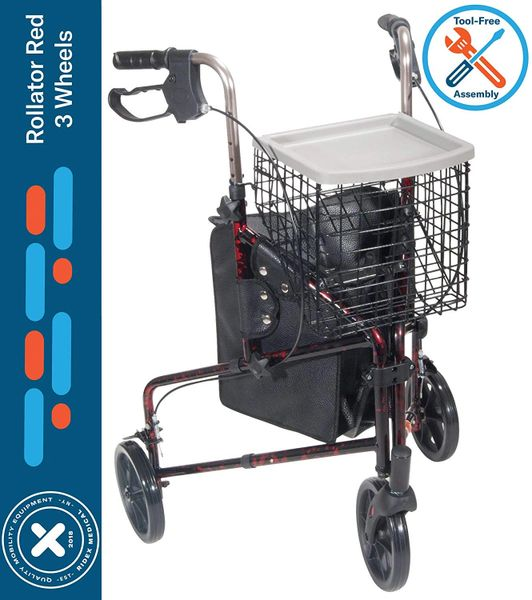 "Rollator Walker for Seniors 3 Wheel Rolling Walker, All Terrain 8"" Wheels, Includes Convenience Bag, Basket and Tray, Flame Red"