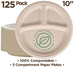 "100% Compostable Paper Plates [10 inch - 125-Pack] 3 Compartment Disposable Plates Heavy-Duty Quality, Natural Bagasse Eco-Friendly Made of Sugar Cane & Wheat Straw Fibers, 10"" Biodegradable Plates"