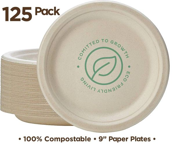 "Stack Man 100% Compostable 9"" Paper Plates [125-Pack] Heavy-Duty Quality Natural Disposable Bagasse Plate, Eco-Friendly Made of Sugar Cane Fibers"