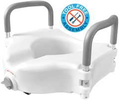 Raised Toilet Seat with Handles - Elevated Commode Riser with Lock, Removable Arms, Padded Handles - Fits Standard Round and Elongated Bathroom Toilets - Great for Handicap, Elderly, Surgery Patients