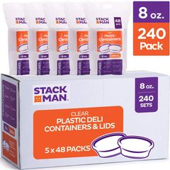 Stack Man Plastic Food Storage Containers with Airtight Lids, 8 oz. (Case of 240)
