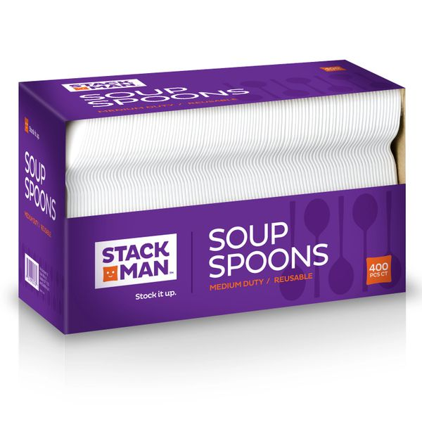 Stack Man Medium Weight White Plastic Soup Spoon - 400 / Case