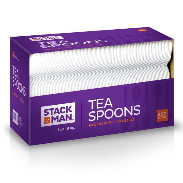 Stack Man Medium Weight White Plastic Tea Spoon - 400 / Case
