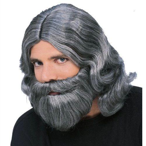 Biblical Beard and Wig - Grey | The fun shop