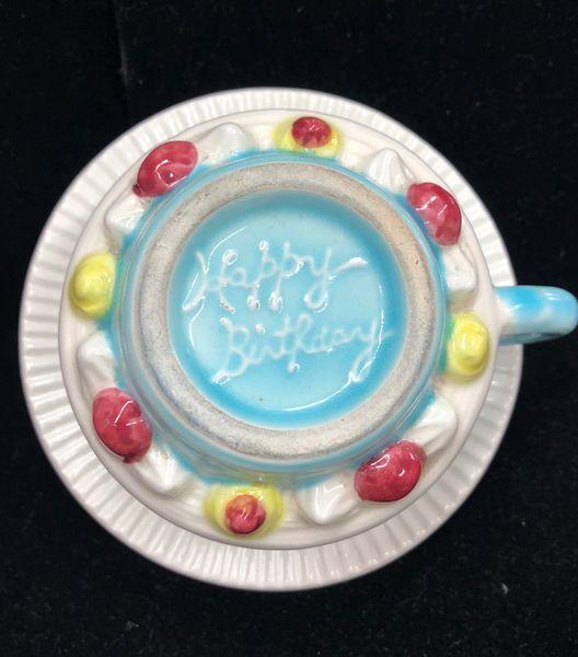 Outstanding Original Russ Berrie Ceramic Happy Birthday Cake Shape Coffee Tea Funny Birthday Cards Online Kookostrdamsfinfo