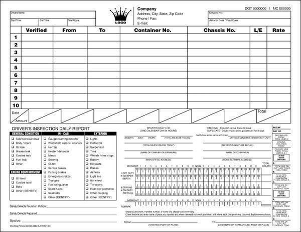 driver u0026 39 s log  u0026 vehicle inspection report