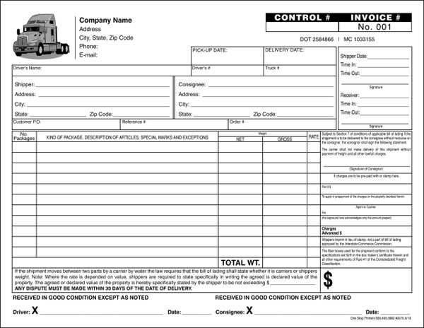 trucking delivery receipt  proof of delivery  bill of