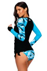 Contrast Dark Blue Detail Long Sleeve Tankini Swimsuit