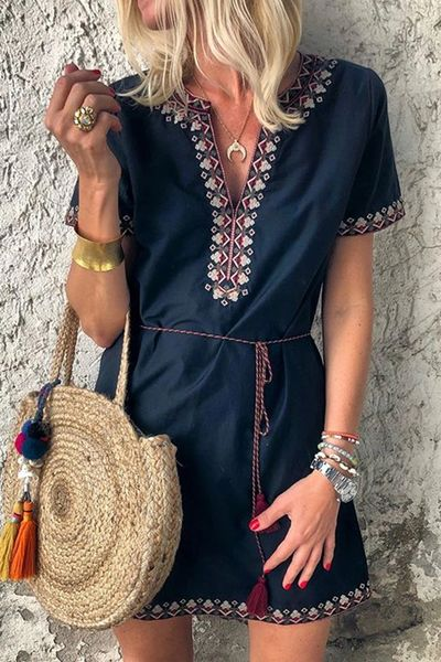 Summer Boho Embroidered V Neck