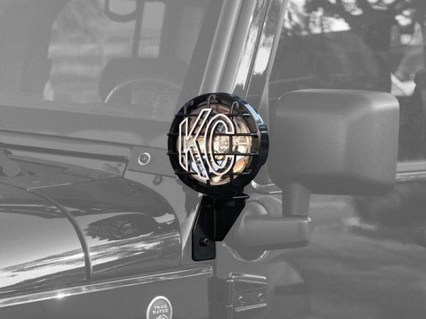WINDSHIELD SIDE MOUNT LIGHT BRACKET FOR JEEP JK (2007-2018) BLACK - KC #7317