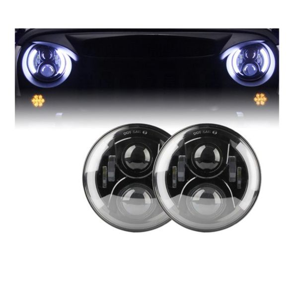 """7"""" 80W LED Projector G2 Headlights With Side Halos For 1997-2017 Jeep Wrangler"""