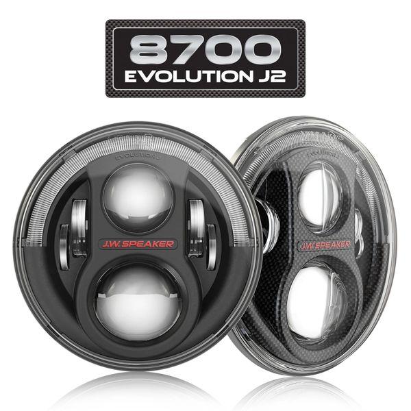 "JW SPEAKER 8700 EVO J2 7"" ROUND LED PAIR JEEP JK HEADLIGHTS Black 0554543"