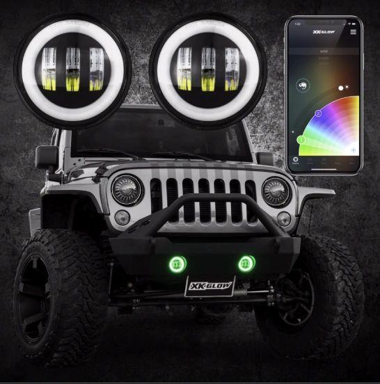 XKglow Chrome RGB LED Fog Lights Jeep Wrangler 07-18 JK/JKU