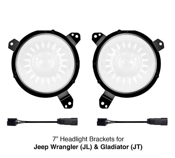 "Universal 7"" Headlight Mounting Brackets for Jeep Wrangler JL and Gladiator JT Models"