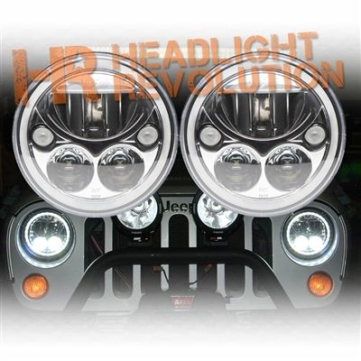 Vision X Jeep JK LED Headlights - Chrome Vortex LED Headlights Jeep Wrangler JK