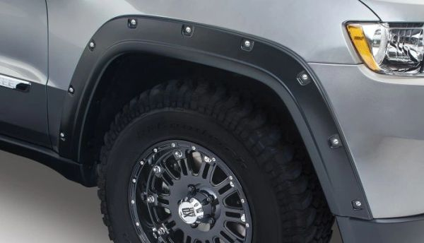 Bushwacker 10927-02 Black Pocket/Rivet Style Smooth Finish 4-Piece Fender Flare Set for 2011-2016 Jeep Grand Cherokee (Excludes SRT8)