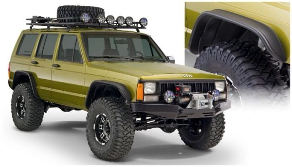 Bushwacker 10922-07 Black Jeep Flat Style Textured Finish 4-Piece Fender Flare Set for 1984-2001 Jeep Cherokee