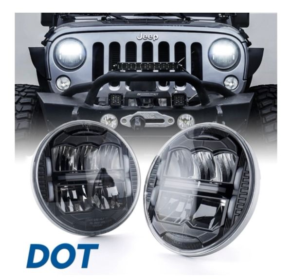 "7"" Division Series 60W LED Headlights With DRL For 1997-2018 Jeep Wrangler TJ JK"