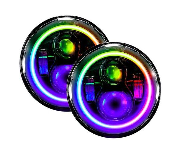 Quake JEEP JK/CJ/TJ 7 INCH 45 WATT HIGH/LOW HEADLIGHTS RGB HD ACCENT TEMPEST SERIES
