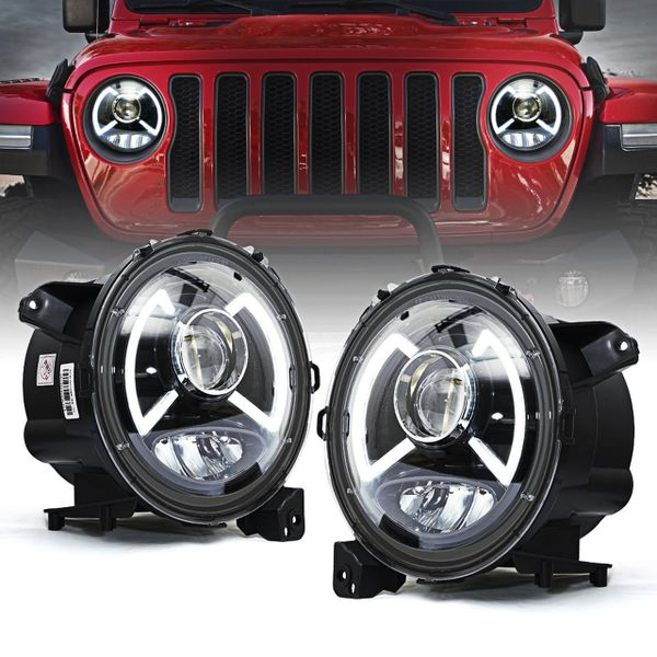 Dark Bat Series CREE LED Headlights with DRL For 2018+ Jeep Wrangler JL & Gladiator JT