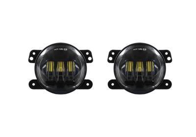 QUAKE JEEP JK/CJ/TJ 4 INCH 30 WATT FOG LIGHT RGB ACCENT QUAD-LOCK/INTERLOCK BLACK REFLECTOR TEMPEST SERIES