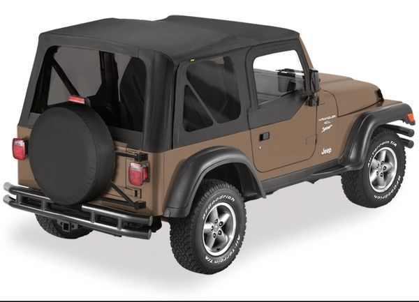 Bestop Sailcloth Replace-a-top Soft Top with Half Door Skins & Tinted Windows for 97-06 Jeep Wrangler TJ