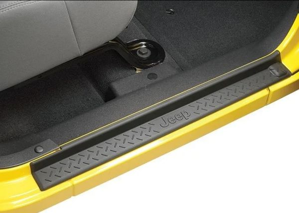 Mopar 82210104AB Door Sill Entry Guards in Black Plastic with Jeep Logo for 07-18 Jeep Wrangler JK