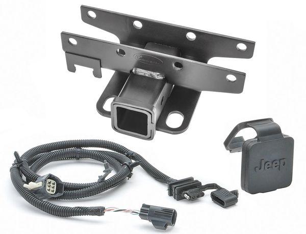 "Quadratec Premium 2"" Hitch with Wiring Kit & Jeep Logo Plug for 13-18 Jeep Wrangler JK"
