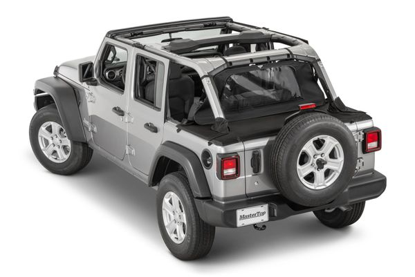 MasterTop 14501624 Tonneau Cover In MasterTwill Fabric for 18-21 Jeep Wrangler JL 4-Door with Hardtop