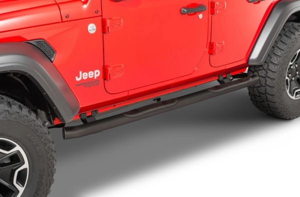 """Go Rhino 4000 Series 3"""" Round Tube Steps for 18-21 Jeep Wrangler JL Unlimited"""