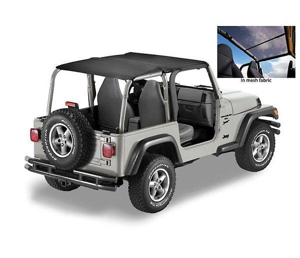 Bestop Header Safari Bikini Top in Mesh Or Black Diamond for 03-06 Jeep Wrangler TJ