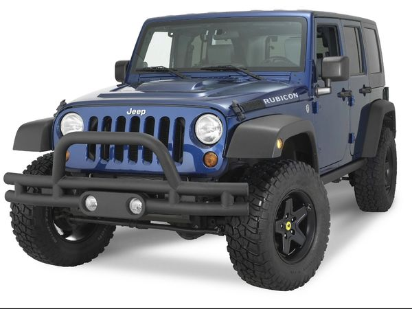 Rampage Products 88625 Front Double Tube Bumper with Fog Light Holes in Textured Black for 07-21 Jeep Wrangler JL, JK & Gladiator JT